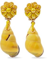 Ranjana Khan - Beaded Shell And Leather Clip Earrings - Lyst
