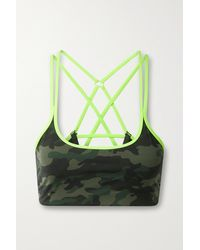 All Access Strappy Chorus Camouflage-print Stretch Sports Bra - Green