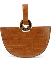 L'afshar Ela Croc-effect Leather Tote - Brown