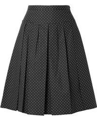 Michael Kors - Pleated Polka-dot Stretch-cotton Poplin Skirt - Lyst