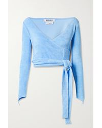 Maisie Wilen Dramady Cropped Cotton-blend Terry Wrap Top - Blue
