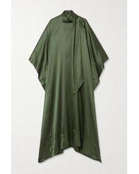 Taller Marmo Tie-detailed Silk-blend Satin Kaftan - Green