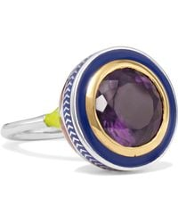 Alice Cicolini - 22-karat Gold, Sterling Silver, Amethyst And Enamel Ring - Lyst