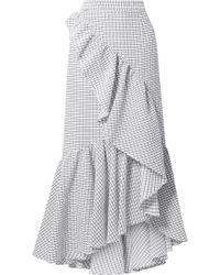 Hellessy - Asymmetric Ruffled Textured-cotton Maxi Skirt - Lyst