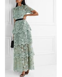 Self-Portrait Grosgrain-trimmed Tiered Corded Lace Maxi Dress - Green