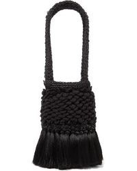Johanna Ortiz Honey Lavender Tasselled Embellished Crochet And Woven Straw Tote - Black