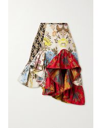 Marques'Almeida + Net Sustain Rem'ade By Asymmetric Patchwork Brocade Skirt - Red