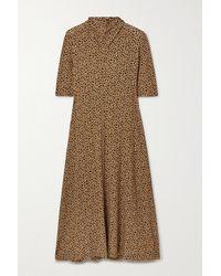 Rosetta Getty Draped Leopard-print Stretch-jersey Midi Dress - Brown