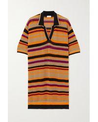 Dries Van Noten - Striped Mesh Polo Shirt - Lyst
