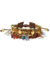 Chan Luu - Gold-plated, Leather And Multi-stone Bracelet - Lyst