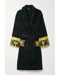 Versace Printed Poplin-trimmed Cotton-terry Robe - Black