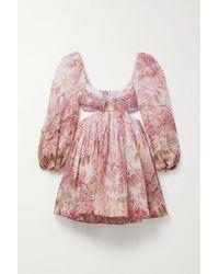 Zimmermann - Wild Botanica Open-back Cutout Floral-print Linen And Silk-blend Mini Dress - Lyst