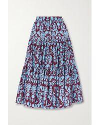 La DoubleJ Big Tiered Printed Cotton-poplin Maxi Skirt - Blue