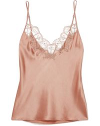 I.D Sarrieri - Embellished Chantilly Lace-trimmed Silk-blend Satin Camisole - Lyst