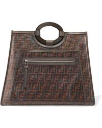 Fendi - Runaway Large Leather-trimmed Printed Mesh Tote - Lyst