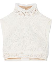 Chloé - Cropped Silk-trimmed Cotton-blend Lace Top - Lyst