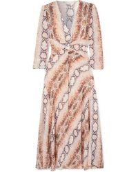 Maje Gathered Snake-print Crepe De Chine Dress