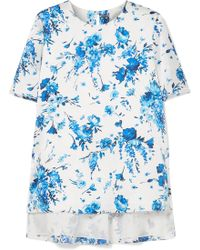 Adam Lippes - Floral-print Hammered-silk Top - Lyst