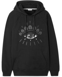 KENZO - Embroidered Cotton-jersey Hoodie - Lyst