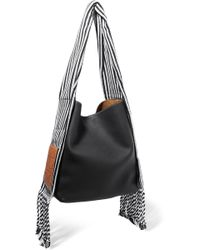 Loewe - Scarf Striped Cotton-trimmed Textured-leather Shoulder Bag - Lyst