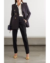 Saint Laurent Double-breasted Pinstriped Wool-twill Blazer - Blue