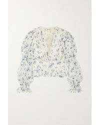 Reformation Meadowlark Lace-trimmed Floral-print Broderie Anglaise Organic Cotton-voile Blouse - White