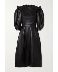 Simone Rocha Ruffled Leather Midi Dress - Black