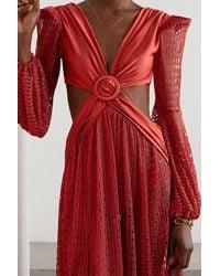 PATBO Cutout Satin-jersey And Crochet-knit Maxi Dress - Red