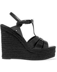 Saint Laurent Wedge Sandals Bda00 Calfskin Rattan Black