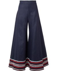 Paper London Woman Rick Rack-trimmed Ramie Wide-leg Pants Navy - Blue