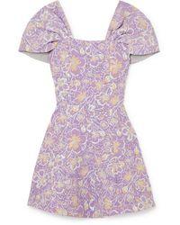 ROTATE BIRGER CHRISTENSEN Petra Off-the-shoulder Floral-jacquard Mini Dress - Purple