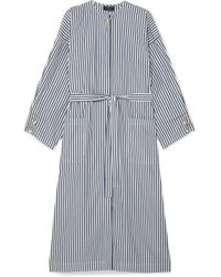 Mother Of Pearl - Faux Pearl-embellished Striped Organic Cotton-poplin Dress - Lyst