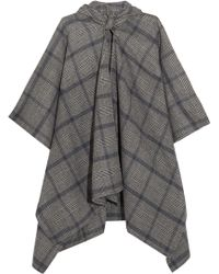 Balenciaga Plaid Cashmere And Wool-blend Poncho - Grey