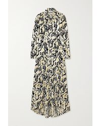 Paco Rabanne - Asymmetric Metallic Velvet-jacquard Shirt Dress - Lyst