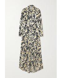 Paco Rabanne Asymmetrisches Hemdblusenkleid Aus Samt-jacquard In Metallic-optik - Weiß