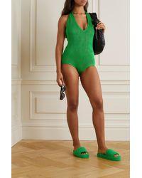 Bottega Veneta - Seersucker Halterneck Swimsuit - Lyst