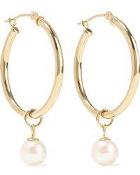 Mateo 14-karat Gold Pearl Hoop Earrings - Metallic