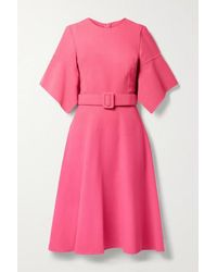 Oscar de la Renta Kleid Aus Gaze Aus Einer Wollmischung Mit Gürtel - Pink