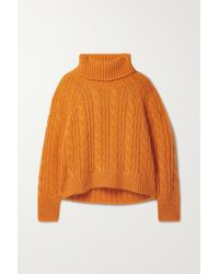 Cecilie Bahnsen Grayson Cable-knit Mohair And Silk-blend Turtleneck Jumper - Orange