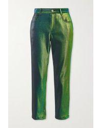 Area Pantalon Droit En Lurex - Vert