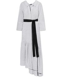 Hellessy Asymmetric Belted Checked Cotton Midi Dress White