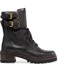 See By Chloé 40mm Mallory Leather Ankle Boots - Black