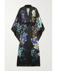 Meng Belted Floral-print Silk-satin Robe - Black