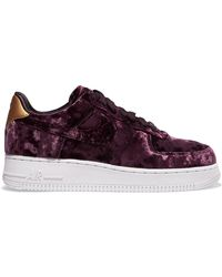 Nike | Air Force 1 Metallic Faux Leather-trimmed Crushed-velvet Trainers | Lyst