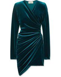 Alexandre Vauthier - Mini-robe En Velours Stretch À Fronces - Lyst