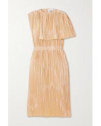Jil Sander Cape-effect Pleated Satin Midi Dress - Natural