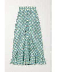 Anna Mason Olivia Ruffled Gingham Cotton Midi Skirt - Blue