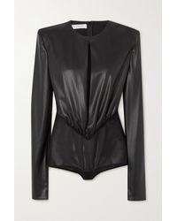 Philosophy Di Lorenzo Serafini Gathered Cutout Faux Stretch-leather Bodysuit - Black