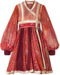 Etro - Panelled Cotton And Silk-blend Jacquard And Printed Chiffon Wrap Dress - Lyst