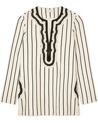Tory Burch - Tory Cord-trimmed Striped Canvas Tunic - Lyst